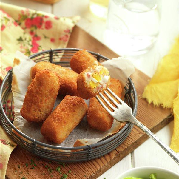 Croquetas de huevo y jamón