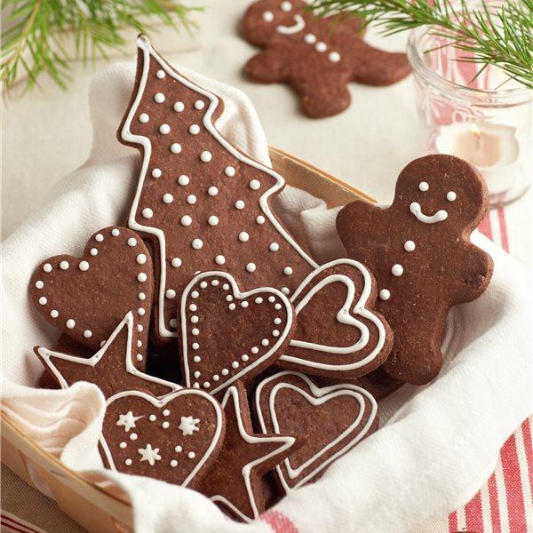 Galletas de chocolate y mazapán navideñas