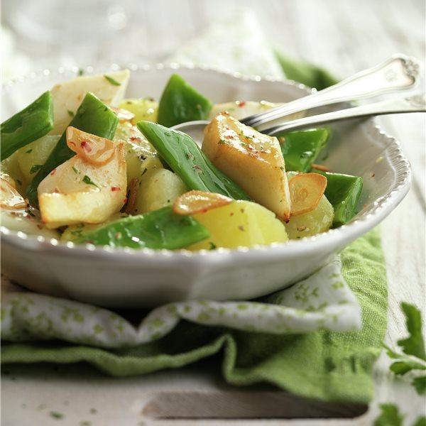 Judías verdes con patata y sepia