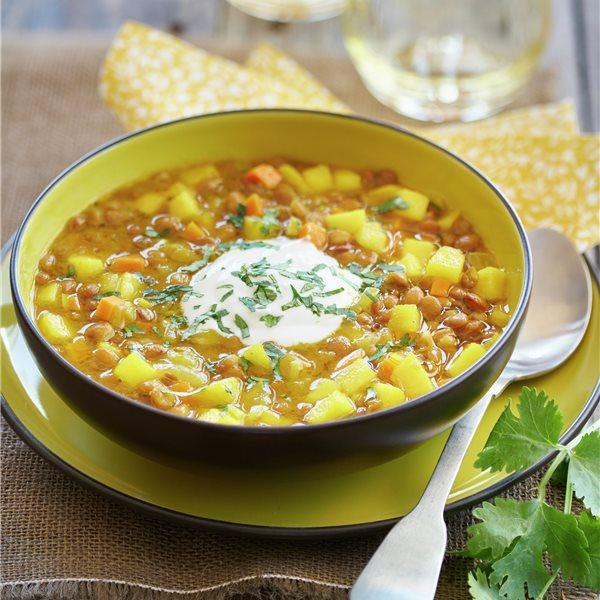 Lentejas con verduras al curry