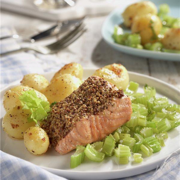 Lomos de salmón a la mostaza con patatas