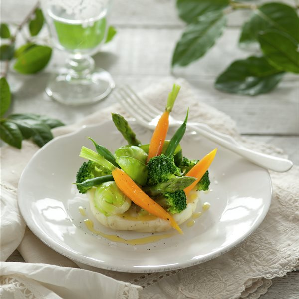 Menestra de verduras con puré de patata