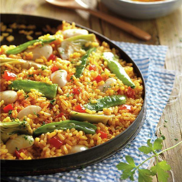 Paella de verduras con garrafones