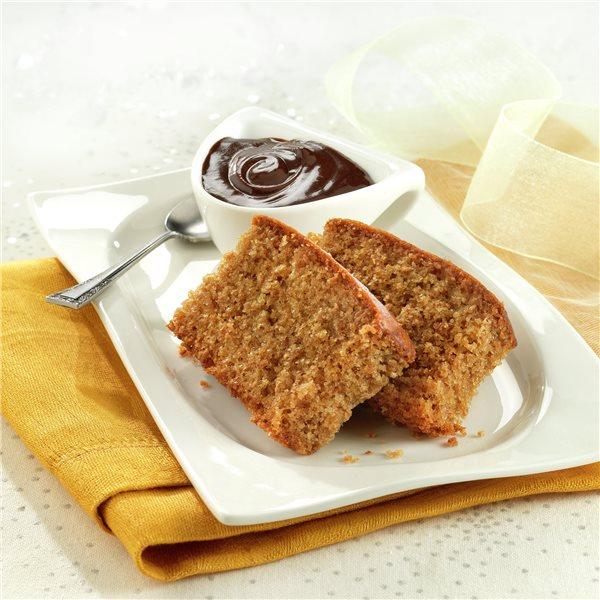 Pan de especias con salsa de chocolate