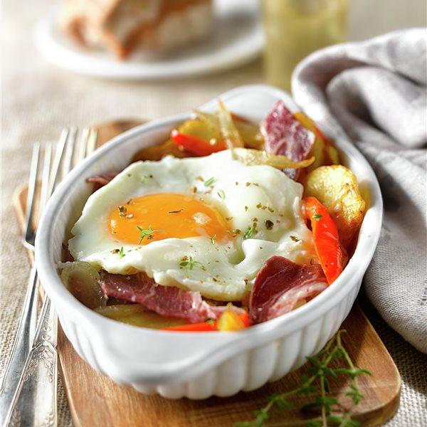 Huevos estrellados con jamón