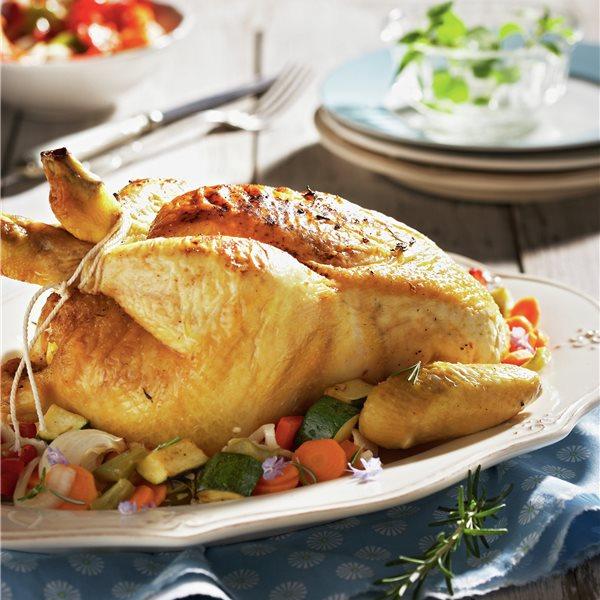 Pollo asado con limón y romero