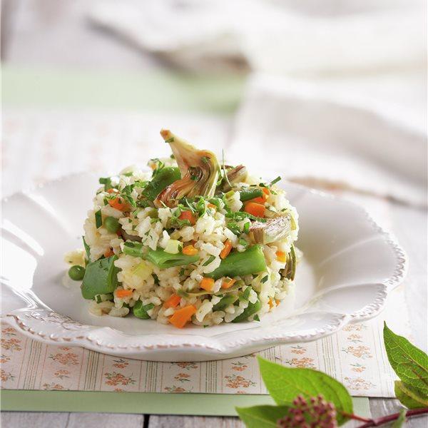 Timbal de arroz y verduras de primavera