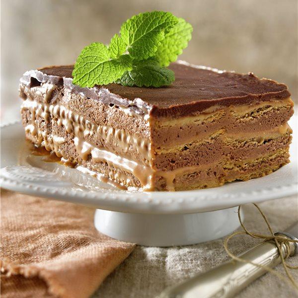 Pastel de galletas con toffee y chocolate