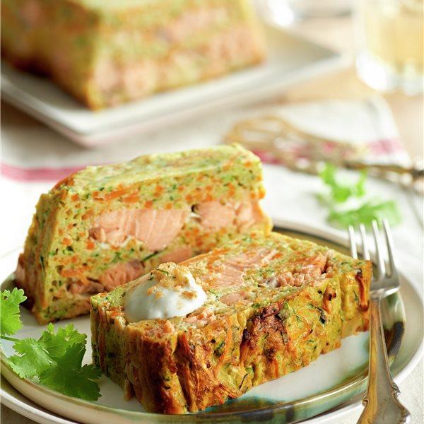 Pastel de verduras con salmón