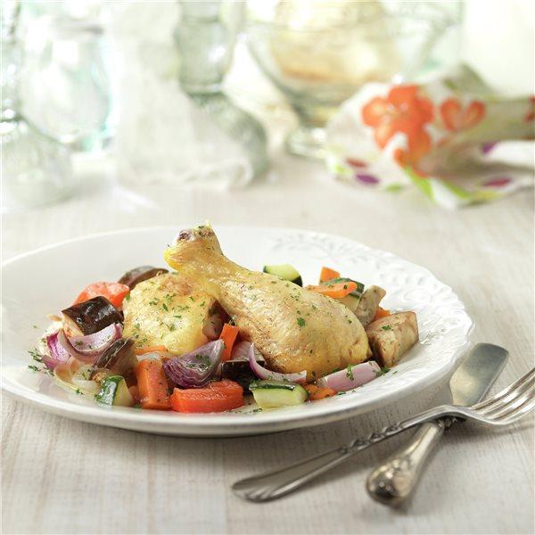 Pollo asado con verduritas
