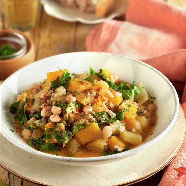 Potaje de legumbres, verduras y arroz
