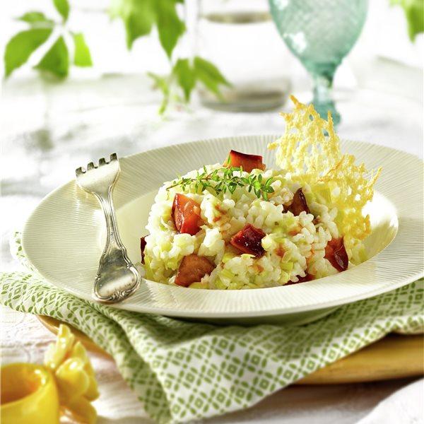 Risotto con teja crujiente de parmesano