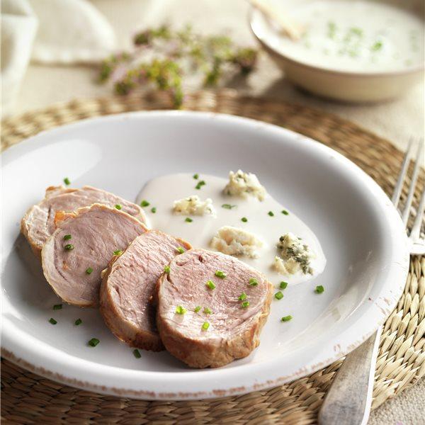 Solomillo de cerdo con salsa de roquefort