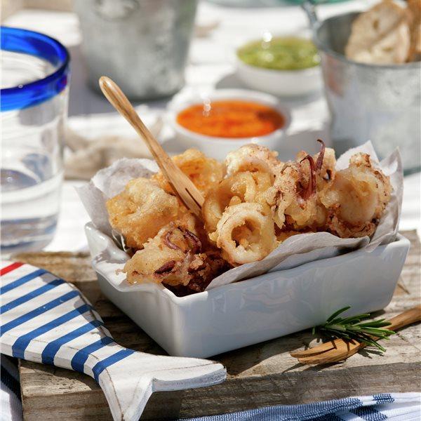 Tempura de calamares con mojo