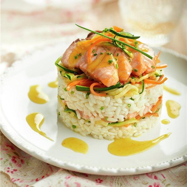 Timbalitos de arroz y salmón marinado