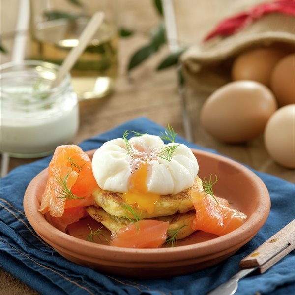 Tortitas de patata y huevo poché