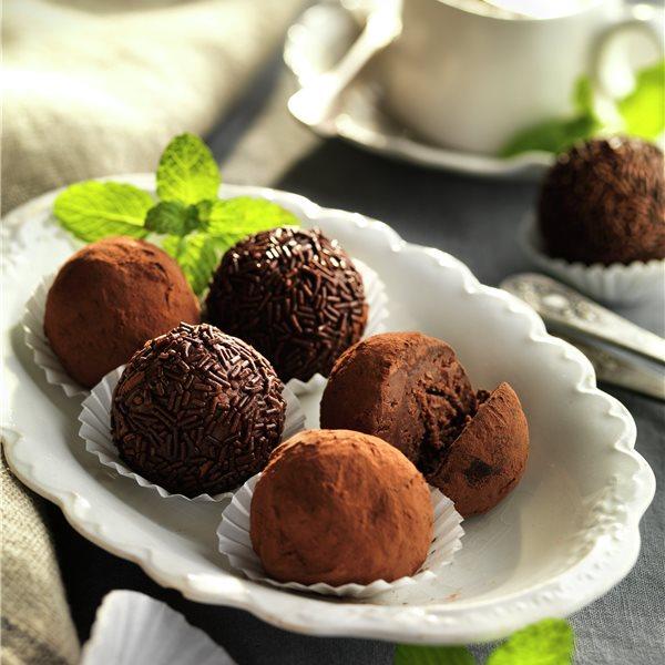 Trufas de chocolate y menta