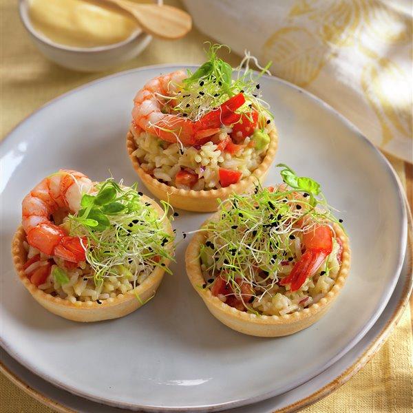Tartaletas con arroz y gambas