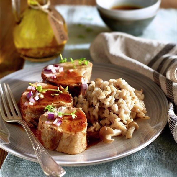 Solomillo ibérico con risotto de setas