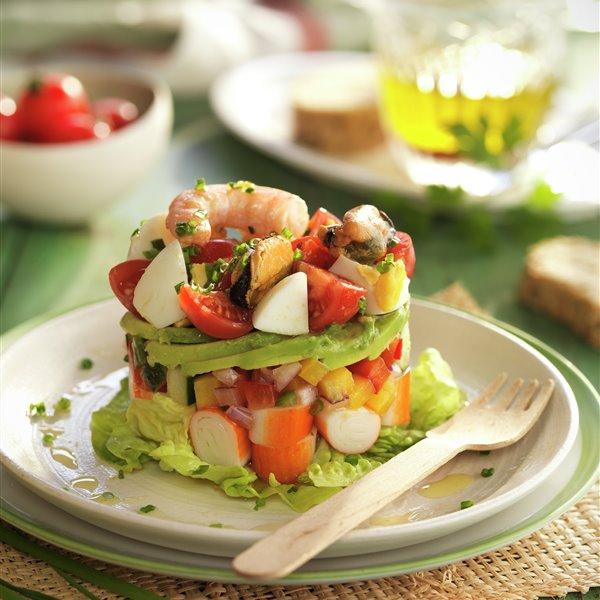 Timbal de marisco y verduras