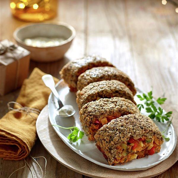 Enrollado de avena con verduras y tempeh
