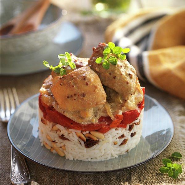 Timbal de arroz con pollo a la mostaza