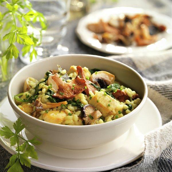 Arroz meloso con setas y pollo al curry
