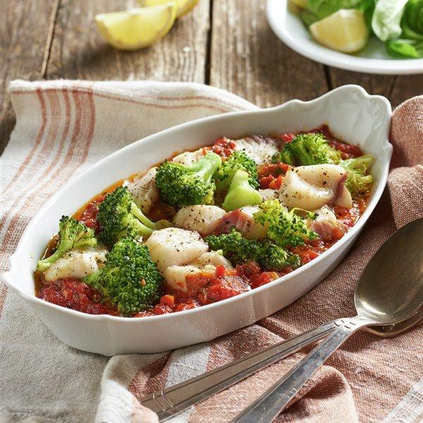 Cazón asado con brócoli