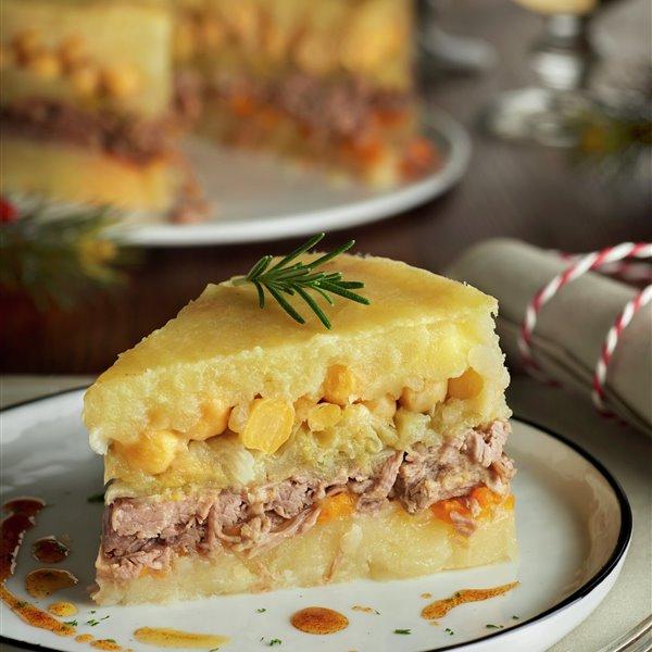 Cocido en forma de pastel a capas