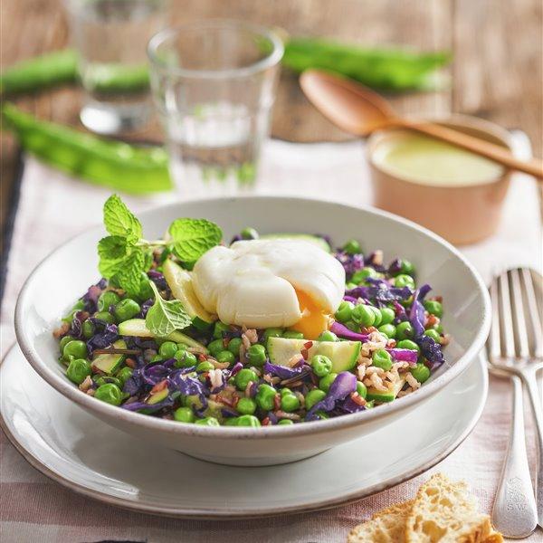 Guisantes con hortalizas y arroz