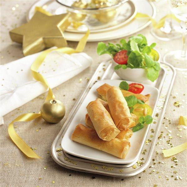 Mini canelones de queso brie con berros