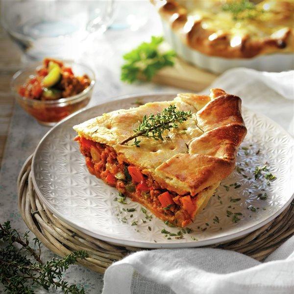 Tarta de carne picada y verduras