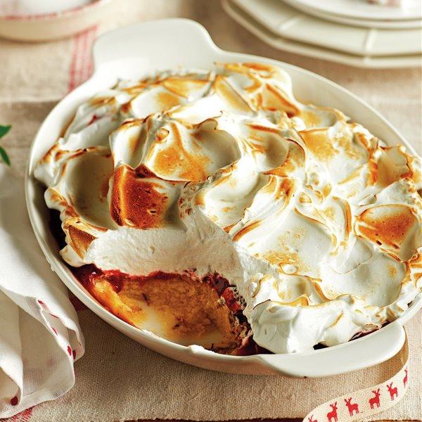 Flan con merengue y sobras de panettone