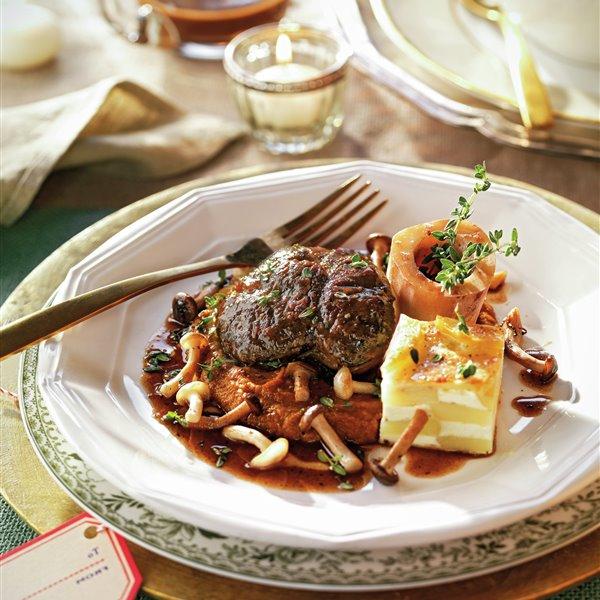 Osobuco con setas y patatas dauphinoise