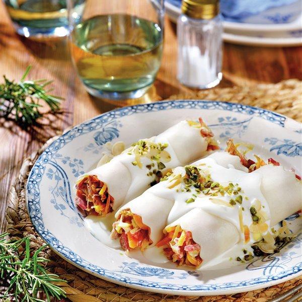 Canelones fríos de confit de pato y verduras con bechamel