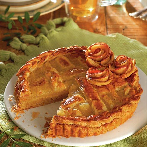 Tarta de franchipán y compota de pera y manzana