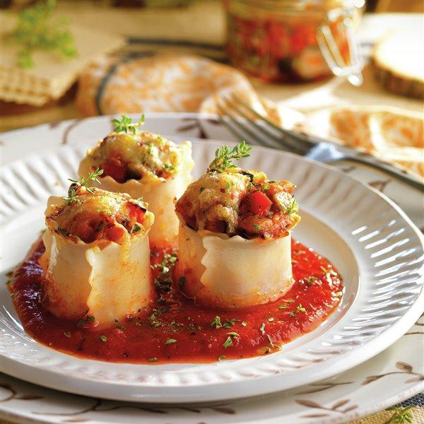 Rollitos de lasaña de verduras