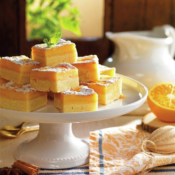 Bocaditos de naranja con base de galleta de mantequilla