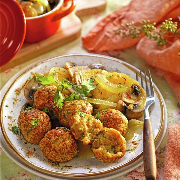 Albóndigas de pavo al curry con setas