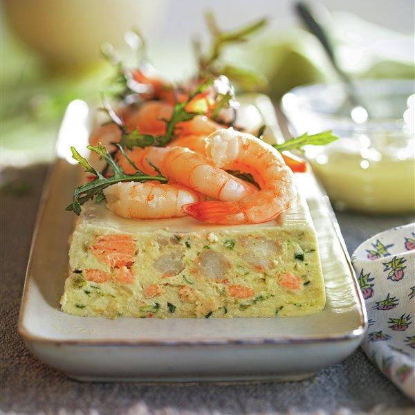 Pastel de salmón fresco y gambas