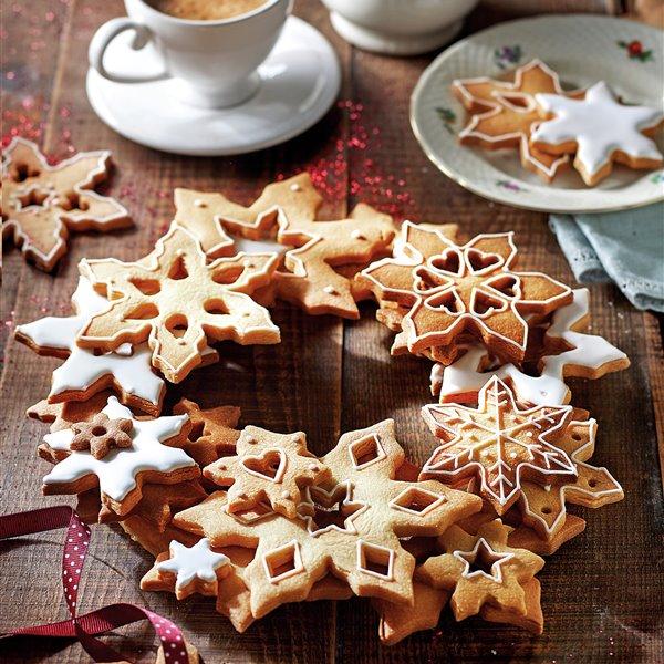 Corona de galletas de mantequilla glaseadas