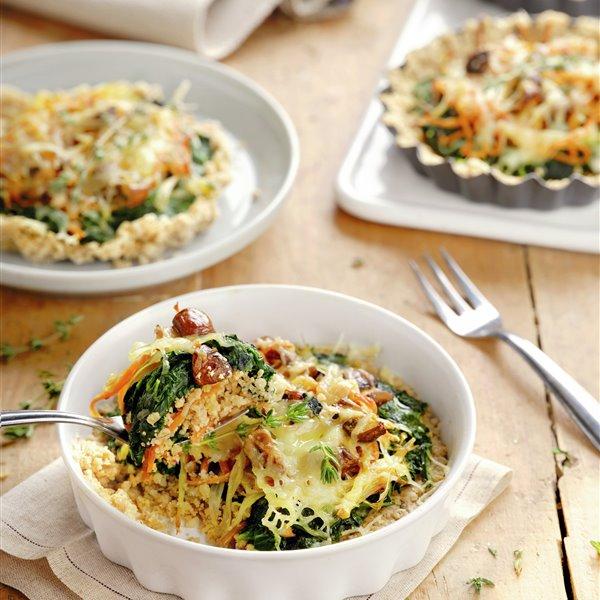 Tartitas de avena con espinacas y queso