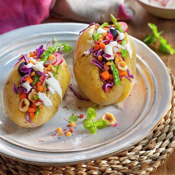 Patatas con verduras y lentejas