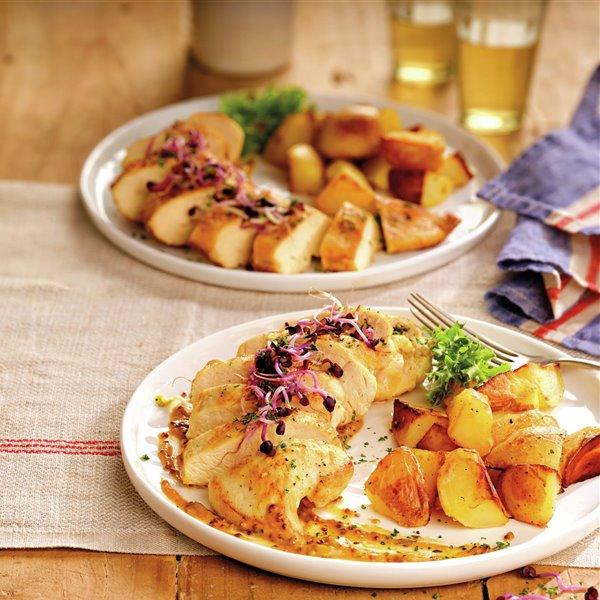 Pechuga de pollo con salsa de miel y mostaza