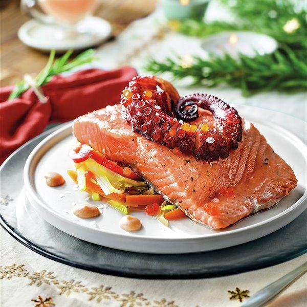 Dúo de salmón y pulpo con verdura y crema de patata