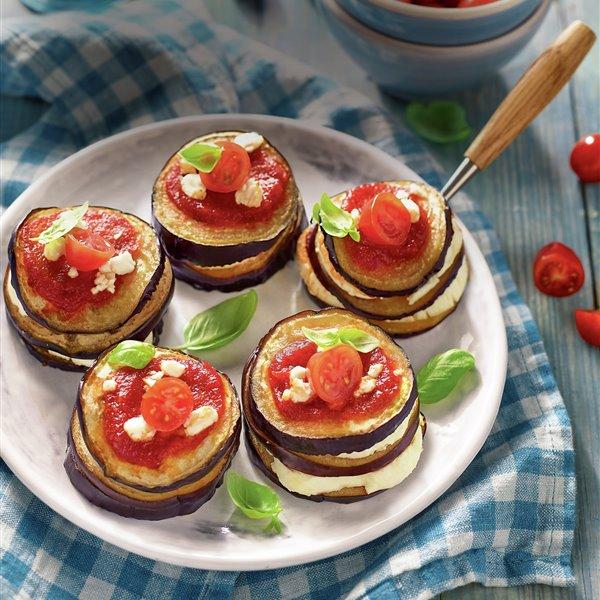 Milhojas de queso y berenjena al horno
