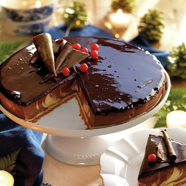 Tarta de queso marmoleada a los 3 chocolates