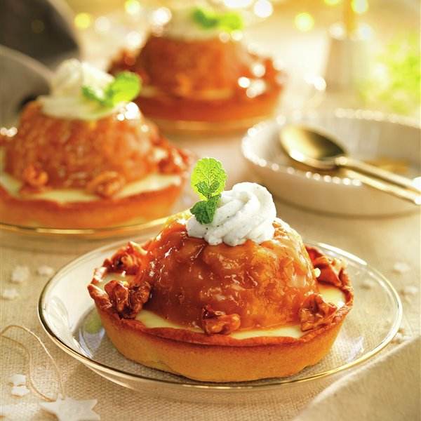 Tartaleta de crema pastelera con tatin de manzana
