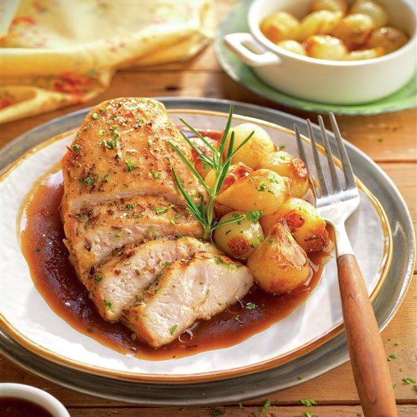 Pechuga de pollo con cebolletas