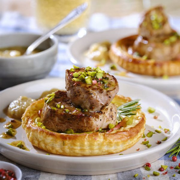 Tartaletas de hojaldre y solomillo de cerdo